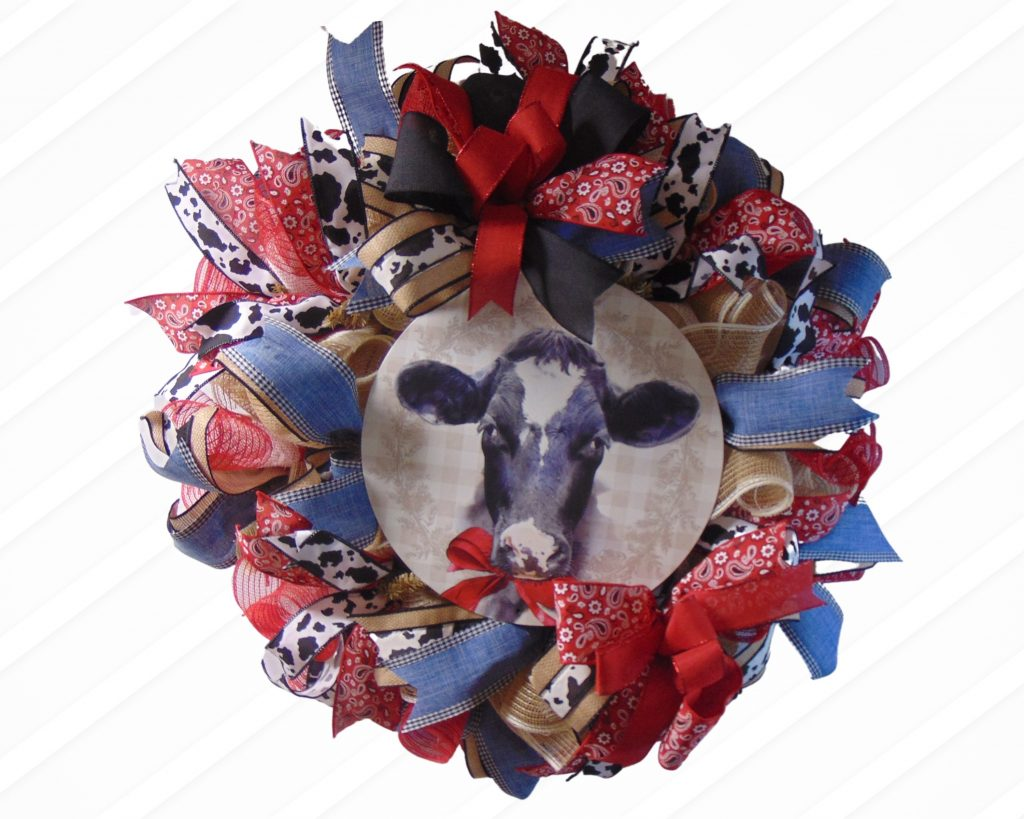 Mesh Wreath with Cow sign